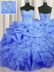 Sleeveless Floor Length Beading and Ruffles and Ruching and Pick Ups Lace Up Vestidos de Quinceanera with Blue