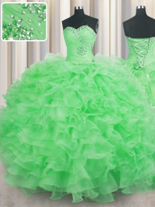 Floor Length Quinceanera Gowns Organza Sleeveless Beading and Ruffles