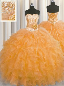Attractive Handcrafted Flower Sweetheart Sleeveless Organza Ball Gown Prom Dress Beading and Ruffles and Hand Made Flower Lace Up