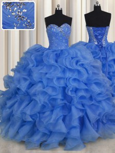 Romantic Floor Length Ball Gowns Sleeveless Blue Sweet 16 Quinceanera Dress Lace Up