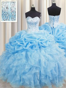 Discount Visible Boning Baby Blue Ball Gowns Organza Sweetheart Sleeveless Beading and Ruffles and Pick Ups Floor Length Lace Up Sweet 16 Dress