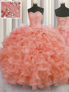 Superior Watermelon Red Lace Up Quinceanera Gowns Beading and Ruffles Sleeveless Floor Length