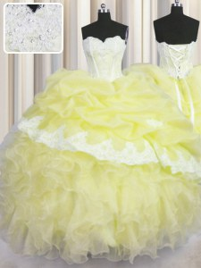 Top Selling Light Yellow 15 Quinceanera Dress Military Ball and Sweet 16 and Quinceanera and For with Beading and Appliques and Ruffles and Pick Ups Sweetheart Sleeveless Lace Up