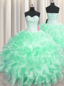 Custom Made Visible Boning Sweetheart Sleeveless Organza Quinceanera Gown Beading and Ruffles Zipper