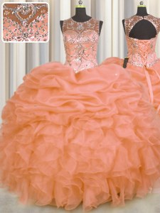 See Through Organza Sleeveless Floor Length Quinceanera Dresses and Beading and Ruffles and Pick Ups