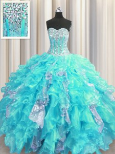 Visible Boning Aqua Blue Lace Up Quince Ball Gowns Beading and Ruffles and Sequins Sleeveless Floor Length