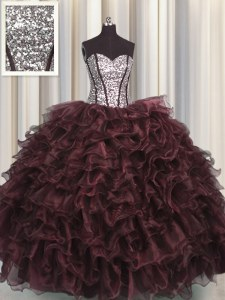 Sequins Visible Boning Brown Sleeveless Organza and Sequined Lace Up Quinceanera Dress for Military Ball and Sweet 16 and Quinceanera