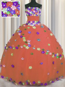 Fitting Strapless Sleeveless Sweet 16 Dresses Floor Length Hand Made Flower Rust Red Tulle