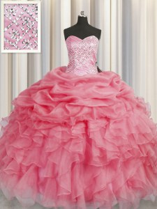 Vintage Organza Sweetheart Sleeveless Lace Up Beading and Ruffles Quince Ball Gowns in Coral Red