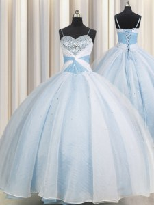 Spectacular Light Blue Spaghetti Straps Lace Up Beading and Ruching Quinceanera Gowns Sleeveless