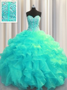 Visible Boning Aqua Blue Ball Gowns Sweetheart Sleeveless Organza Floor Length Lace Up Beading and Ruffles Sweet 16 Dresses