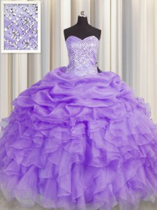 Flirting Sleeveless Floor Length Beading and Ruffles Lace Up Quinceanera Dresses with Lavender