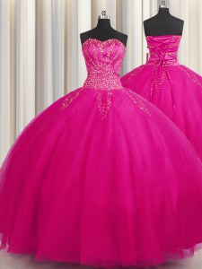 Shining Big Puffy Sleeveless Tulle Floor Length Lace Up Vestidos de Quinceanera in Fuchsia with Beading