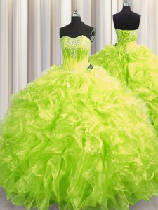 Yellow Green Organza Lace Up Sweetheart Long Sleeves Sweet 16 Dresses Brush Train Beading and Ruffles