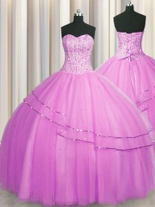 Latest Visible Boning Really Puffy Lilac Sweetheart Lace Up Beading Quinceanera Dresses Sleeveless