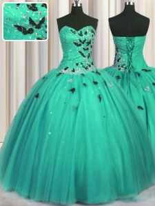 Turquoise Sleeveless Floor Length Beading and Appliques Lace Up Quinceanera Gowns