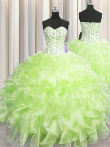 Best Selling Visible Boning Sleeveless Zipper Floor Length Beading and Ruffles Quinceanera Gowns