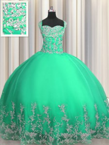 Beautiful Sleeveless Lace Up Floor Length Beading and Appliques Sweet 16 Dresses