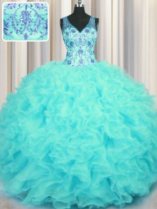 Custom Fit V Neck Aqua Blue Sleeveless Organza Zipper 15th Birthday Dress for Military Ball and Sweet 16 and Quinceanera