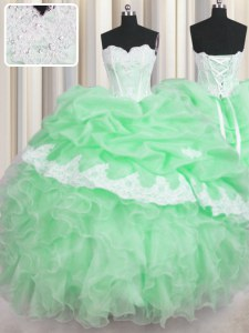 Beading and Appliques and Ruffles and Pick Ups Sweet 16 Dress Green Lace Up Sleeveless Floor Length