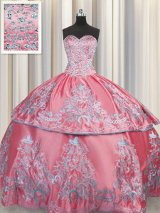 Fancy Floor Length Lace Up 15 Quinceanera Dress Rose Pink for Military Ball and Sweet 16 and Quinceanera with Beading and Embroidery