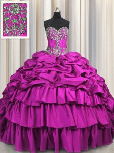 Cute Brush Train Beading and Embroidery and Ruffled Layers and Pick Ups Sweet 16 Quinceanera Dress Fuchsia Lace Up Sleeveless Floor Length