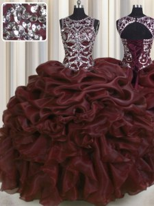 See Through Burgundy Ball Gown Prom Dress Military Ball and Sweet 16 and Quinceanera and For with Beading and Pick Ups Scoop Sleeveless Lace Up