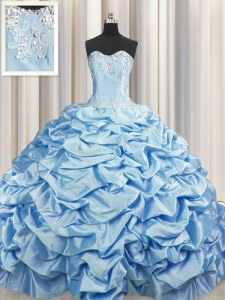 Extravagant Brush Train Baby Blue Taffeta Lace Up Sweetheart Sleeveless Sweet 16 Dress Sweep Train Beading and Pick Ups