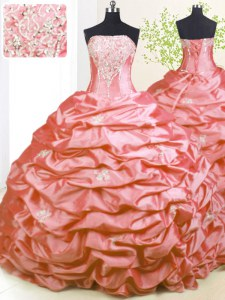 Excellent Sweep Train Pink Strapless Neckline Beading and Pick Ups Quinceanera Gowns Sleeveless Lace Up