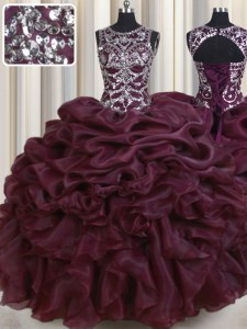 Lovely Scoop See Through Burgundy Sleeveless Floor Length Beading and Pick Ups Lace Up Ball Gown Prom Dress