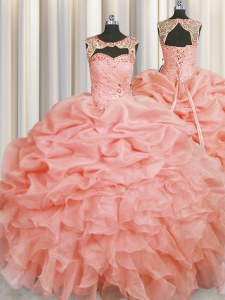 Luxurious Scoop Sleeveless Sweet 16 Dresses Floor Length Beading and Pick Ups Baby Pink Organza