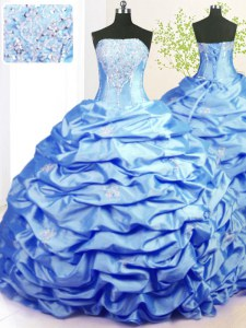 Sweep Train Baby Blue Ball Gowns Beading and Pick Ups Ball Gown Prom Dress Lace Up Taffeta Sleeveless With Train