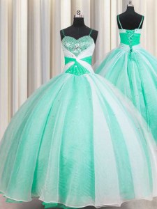 Cheap Floor Length Apple Green Sweet 16 Dress Spaghetti Straps Sleeveless Lace Up