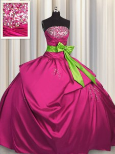 Bowknot Floor Length Ball Gowns Sleeveless Fuchsia Quince Ball Gowns Lace Up