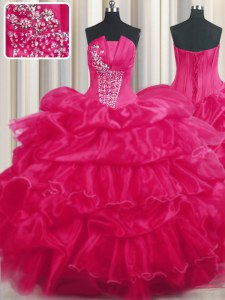 Smart Sleeveless Organza Floor Length Lace Up Sweet 16 Dress in Hot Pink with Beading and Ruffled Layers and Pick Ups