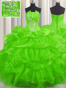 Floor Length Lace Up Quinceanera Dresses for Military Ball and Sweet 16 and Quinceanera with Beading and Ruffled Layers and Pick Ups
