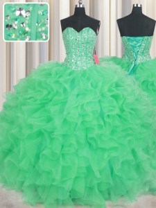 Elegant Visible Boning Green Ball Gowns Beading and Ruffles Sweet 16 Dresses Lace Up Organza Sleeveless Floor Length