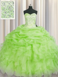 High Class Beading and Ruffles Quinceanera Dresses Lace Up Sleeveless Floor Length
