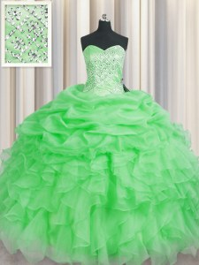 Shining Green Sleeveless Floor Length Beading and Ruffles Lace Up Sweet 16 Dress