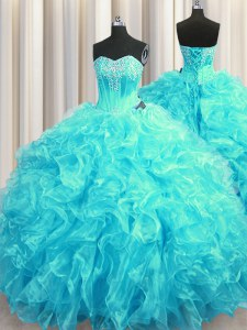 Fashion Aqua Blue Sleeveless Beading and Ruffles Lace Up Quinceanera Gown
