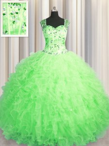 See Through Zipper Up Sleeveless Tulle Floor Length Zipper Quinceanera Dress in with Beading and Ruffles