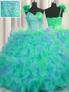 Handcrafted Flower Multi-color Ball Gowns Tulle One Shoulder Sleeveless Beading and Ruffles and Hand Made Flower Floor Length Lace Up Quinceanera Dress