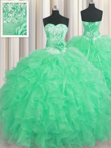 Handcrafted Flower Apple Green Ball Gowns Beading and Ruffles and Hand Made Flower Quinceanera Dresses Lace Up Organza Sleeveless Floor Length