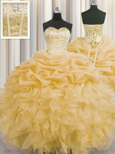 Visible Boning Gold Quince Ball Gowns Military Ball and Sweet 16 and Quinceanera and For with Beading and Ruffles and Pick Ups Sweetheart Sleeveless Lace Up