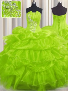 Pick Ups Ball Gowns Sweet 16 Dress Strapless Organza Sleeveless Floor Length Lace Up
