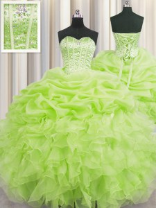 Superior Visible Boning Yellow Green Sleeveless Beading and Ruffles and Pick Ups Floor Length Sweet 16 Dress