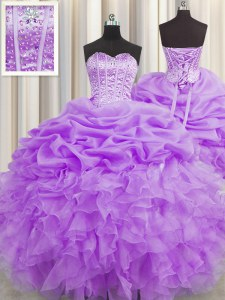 Visible Boning Organza Sweetheart Sleeveless Lace Up Beading and Ruffles and Pick Ups Sweet 16 Dress in Lilac