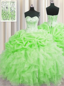 Sophisticated Visible Boning Sleeveless Floor Length Beading and Ruffles and Pick Ups Lace Up 15th Birthday Dress