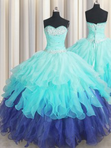 Super Multi-color Organza Lace Up Sweetheart Sleeveless Floor Length 15 Quinceanera Dress Beading and Ruffles and Ruffled Layers and Sequins