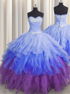 Multi-color Sleeveless Floor Length Beading and Ruffles and Ruffled Layers and Sequins Zipper Quinceanera Gowns